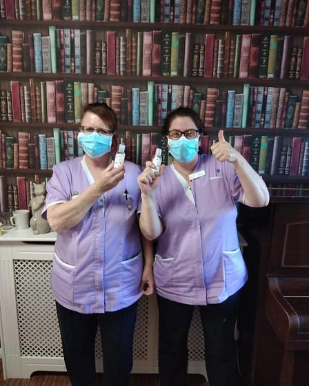 Staff at Manor Farm Care Home in Kessingland with their free hand sanitiser from Spectra Picture: M