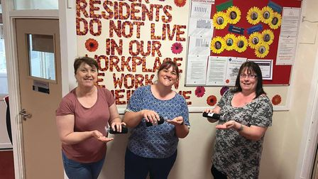 Staff at Beech House in Halesworth with their free hand sanitiser from Spectra Picture: BEECH HOUSE