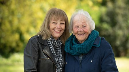 Diane Rich with her mother, Joan, who is walking laps of Allenby Park in Felixstowe Picture: SARAH