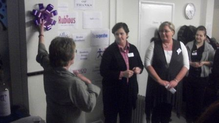 Ipswich borough councillor Liz Harsant officially opening the drop-in centre in Dickens Road in Janu
