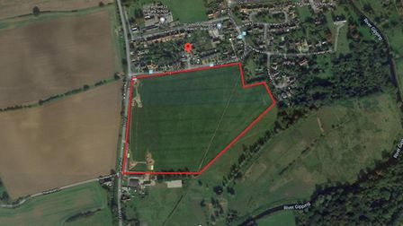 Land south of Fitzgerald Road in Bramford which is the subject of a planning application for 115 hom