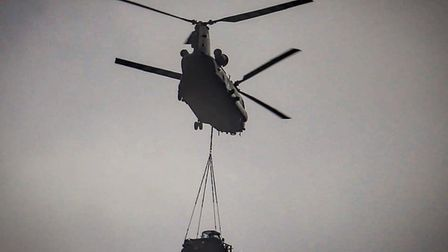 The Chinook helicopters, based at RAF Benson, were seen over Suffolk this afternoon. Picture: LEANNE