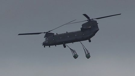 The Chinook was spotted over Stoke by Nayland this afternoon. Picture: Peter French