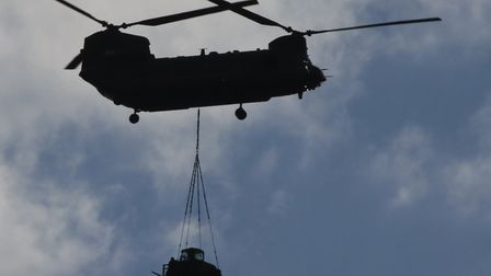 A Chinook helicopter based at RAF Benson was spotted over Suffolk this afternoon. Picture: PETER FRE