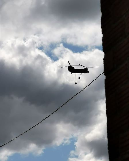 Two Chinook helicopters were seen doing redeployment training over Suffolk today, Picture: STEPH ANN