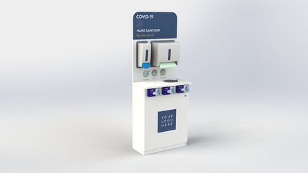 Hand sanitiser stations being manufactured by Fathom at Thetford Picture: FATHOM