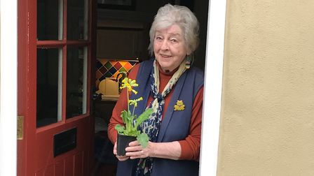 Wendy and her 'pot of joy' - just one of the deliveries carried out by Halesworth Volunteer Centre.