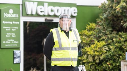There were staff monitoring the number of customers entering Notcutts in Woodbridge when it reopened