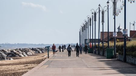 Felixstowe beach on day one of the reduced lockdown rules Picture: SARAH LUCY BROWN