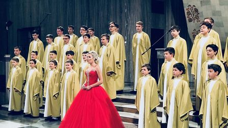 Christina Johnston peformed with the the Boni Pueri boys' choir on Czech national TV. Picture: CONT
