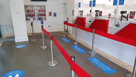 Social distancing signs have been installed at Ipswich Station. Picture: GREATER ANGLIA