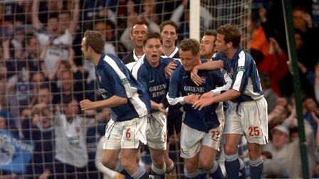 Town players celebrate one of Magilton's strikes against Bolton back in 2000 Picture: PA SPORT