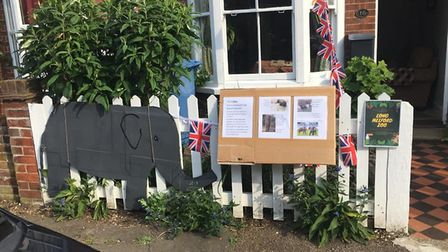 An elephant stands watch outside Jane Burch's house in Long Melford. Picture: JANE BURCH