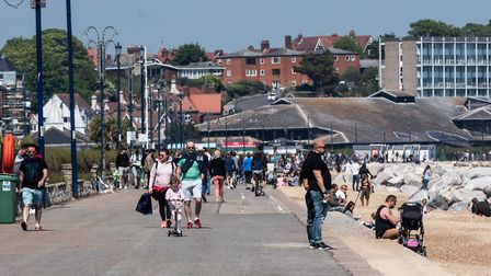 People flocked to Felixstowe on the first weekend of the relaxed lockdown restrictions Picture: SARA