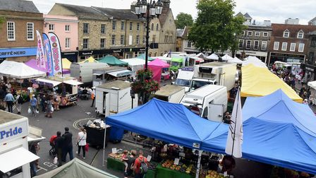The traditional Saturday market on the Cornhill and Buttermarket in Bury St Edmunds. Picture: ANDY