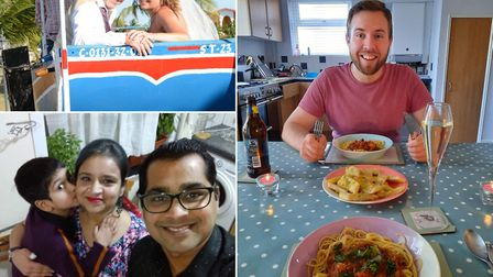 Scott and Donna Turner; Chris Stephenson; and Jyoti and Rajat Agarwal with their son Vivaan