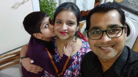 Jyoti Agarwal celebrating her 11th wedding anniversary with her husband Rajat, and their son Vivaan