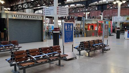 There are few passengers using Norwich station during lockdown. Picture: GREATER ANGLIA