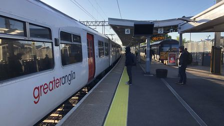 A rush-hour train at Colchester station during the lockdown. Picture: GREATER ANGLIA
