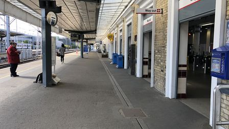 Cambridge station is seeing far fewer passengers than normal during the lockdown. Picture: GREATER A