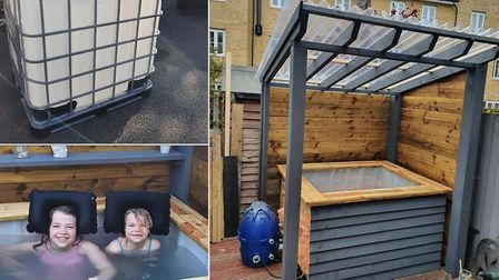 Father-of-two, Matthew Pryce-Hall has built a hot tub in his Great Cornard garden using an IBC water