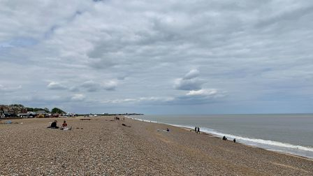 Aldeburgh's beach was mostly empty Picture: SARAH LUCY BROWN