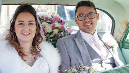 Rachel and Danny Pugh, after their wedding ceremony in Aldeburgh, on Saturday, March 21. Picture: CA