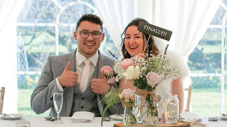 Danny and Rachel Pugh were unable to have the full wedding reception at Glemham Hall, but still mana