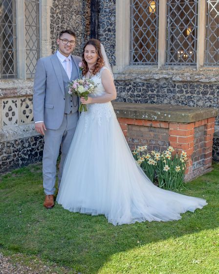 The couple's dream wedding reception at Glemham Hall was slightly different than planned due to coro
