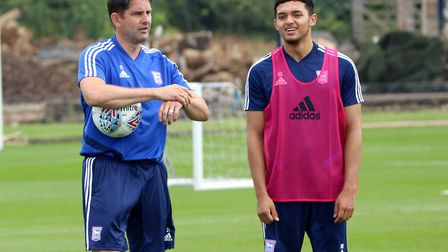 Stuart Taylor and Andre Dozzell pictured in pre-season training for Ipswich Town last summer - train