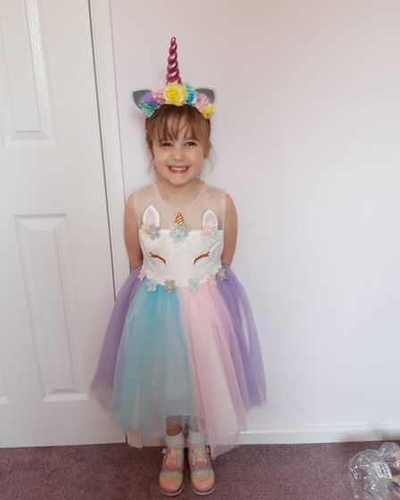 Evie all dressed up for her birthday Picture: JENNA VAUGHAN
