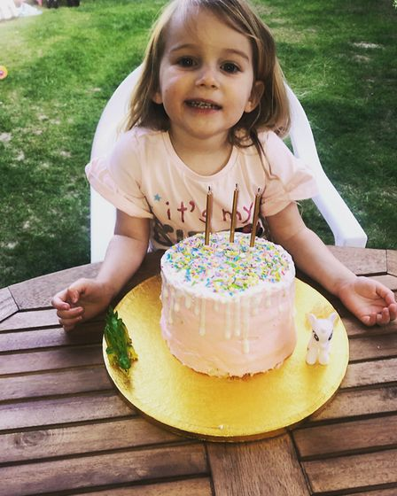 """Violet from Great Leighs in Essex enjoyed a """"perfect"""" low-key third birthday at home Picture: NATALI"""