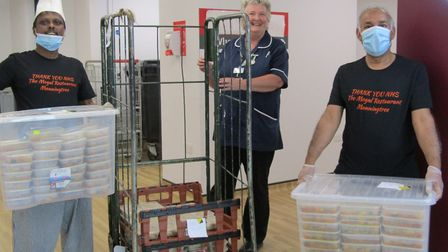 Mr Minar and his staff delivered the food to Colchester Hospital Picture: MARALYN BAMBRIDGE