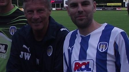 Mr Whymark pictured with former manager John Ward before a pre-season friendly in Holland against SD