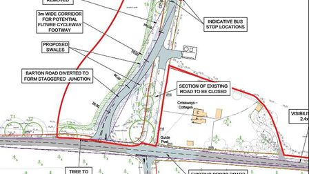This shows what the staggered junction to replace Fishwick Corner crossroads would look like. This i