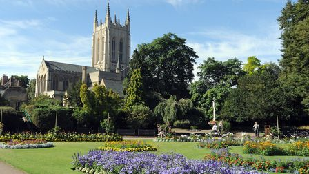 St Edmundsbury Cathedral viewed from the Abbey Gardens in Bury St Edmunds. Picture: Phil Morl