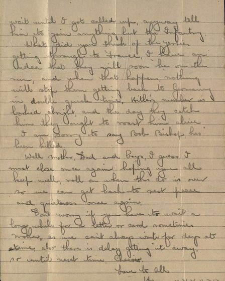 Harry Cole's letter home from the warzone Picture: Andrew Young