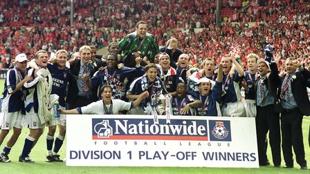 Ipswich Town celebrate beating Barnsley at Wembley to win promotion to the Premier League in May 200