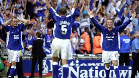 (L-R) Mark Venus, Tony Mowbray and Jim Magilton celebrate after Town went 4-2 against Barnsley at We
