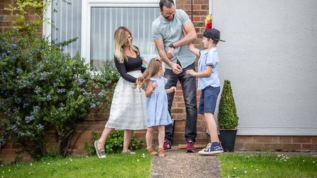 Danielle and family pictured at their home during lockdown. Picture: BECKIE EGAN