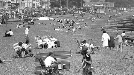 People enjoying the sun at Felixstowe beach in 1985. Picture: ARCHANT
