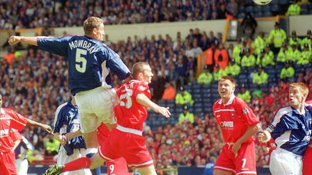 Tony Mowbray rises to head Ipswich Town level at Wembley. Picture: Simon Parker. 29/5/2000