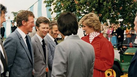 Princess Diana is introduced to from left, Terry Tooley, 'Butch' Hartley, Tony Hore and Barry Saxon