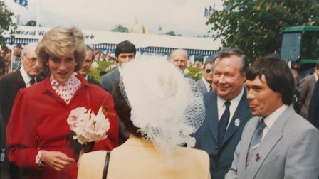 Princess Diana being introduced to the Tuckwells at the Suffolk Show in 1986. Paul is pictured to th