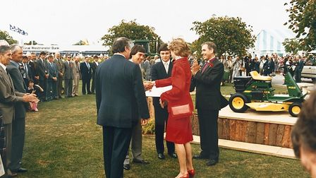 Princess Diana presenting the best trade stand trophy to Paul Tuckwell at the Suffolk Show Picture: