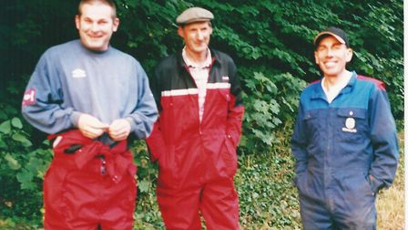 From left, farm workers Stuart Backhouse, Ron Backhouse and Colin Andrews at the Broxtead Estate in