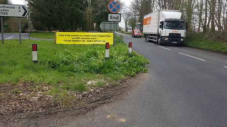 A sign was been placed on the A12 leading into Southwold early on during the lockdown, encouraging s