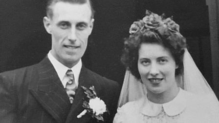 Norman and Lottie Rose on their wedding day in 1950 at Blaxhall Church Picture: NORMAN AND LOTTIE RO