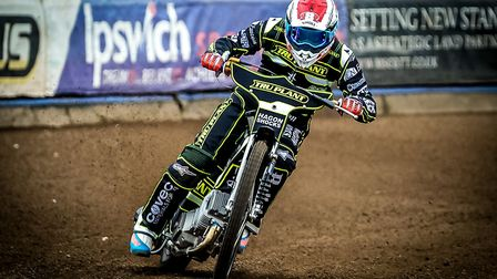Jason Crump on track during during the Witches press day in March. Picture: Steve Waller