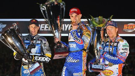 Jarek Hampel, Tomasz Gollob and Jason Crump, from left to right, the top three in the world in 2010.